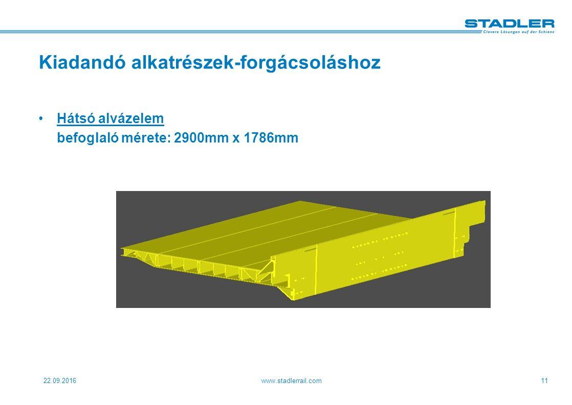 22.09.2016www.stadlerrail.com11 Kiadandó alkatrészek-forgácsoláshoz Hátsó alvázelem befoglaló mérete: 2900mm x 1786mm