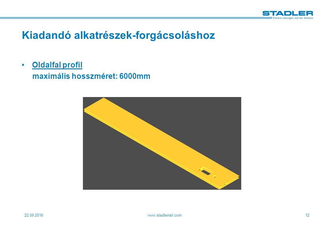 22.09.2016www.stadlerrail.com12 Kiadandó alkatrészek-forgácsoláshoz Oldalfal profil maximális hosszméret: 6000mm