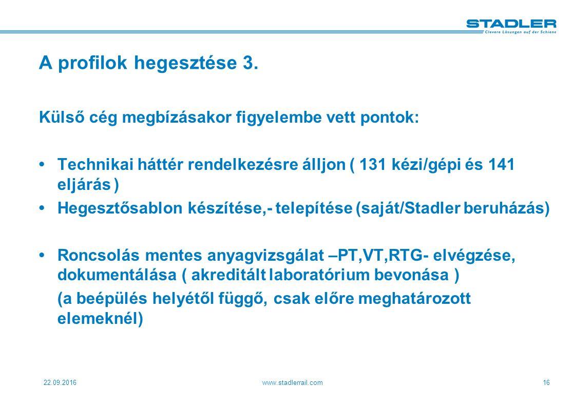 22.09.2016www.stadlerrail.com16 A profilok hegesztése 3.