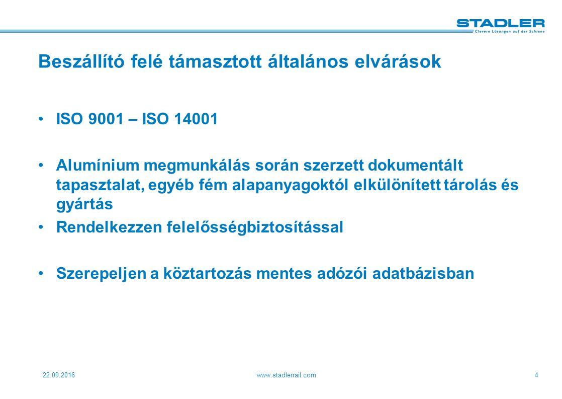 22.09.2016www.stadlerrail.com4 Beszállító felé támasztott általános elvárások ISO 9001 – ISO 14001 Alumínium megmunkálás során szerzett dokumentált tapasztalat, egyéb fém alapanyagoktól elkülönített tárolás és gyártás Rendelkezzen felelősségbiztosítással Szerepeljen a köztartozás mentes adózói adatbázisban