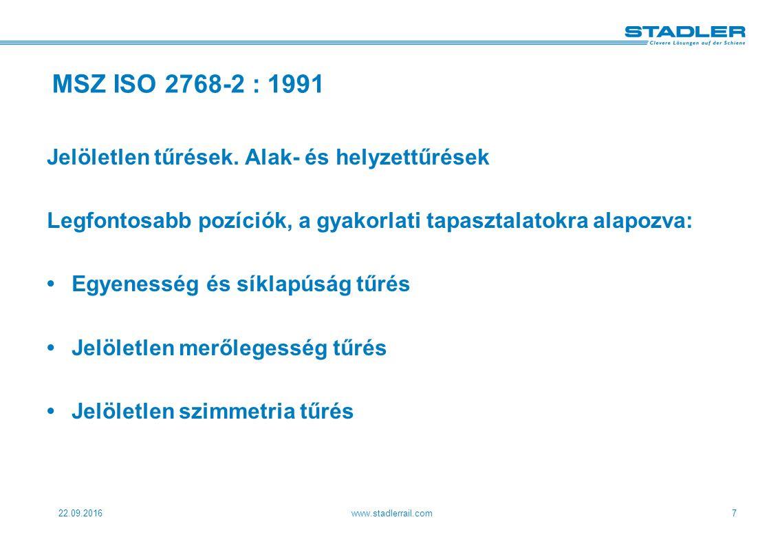 22.09.2016www.stadlerrail.com7 MSZ ISO 2768-2 : 1991 Jelöletlen tűrések.
