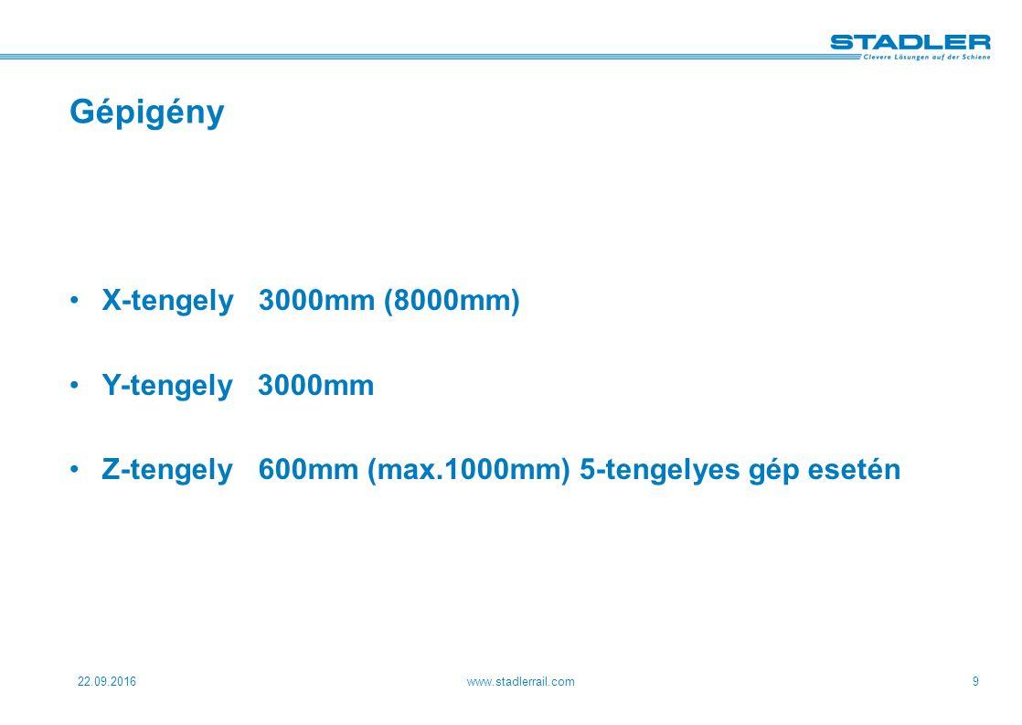 22.09.2016www.stadlerrail.com9 Gépigény X-tengely3000mm (8000mm) Y-tengely 3000mm Z-tengely600mm (max.1000mm) 5-tengelyes gép esetén