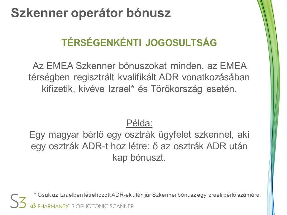Szkenner operátor bónusz TÉRSÉGENKÉNTI JOGOSULTSÁG Az EMEA Szkenner bónuszokat minden, az EMEA térségben regisztrált kvalifikált ADR vonatkozásában kifizetik, kivéve Izrael* és Törökország esetén.