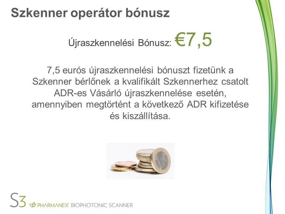 Szkenner operátor bónusz Újraszkennelési Bónusz: €7,5 7,5 eurós újraszkennelési bónuszt fizetünk a Szkenner bérlőnek a kvalifikált Szkennerhez csatolt ADR-es Vásárló újraszkennelése esetén, amennyiben megtörtént a következő ADR kifizetése és kiszállítása.