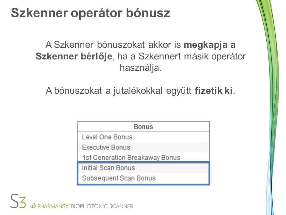 Szkenner operátor bónusz A Szkenner bónuszokat akkor is megkapja a Szkenner bérlője, ha a Szkennert másik operátor használja. A bónuszokat a jutalékok