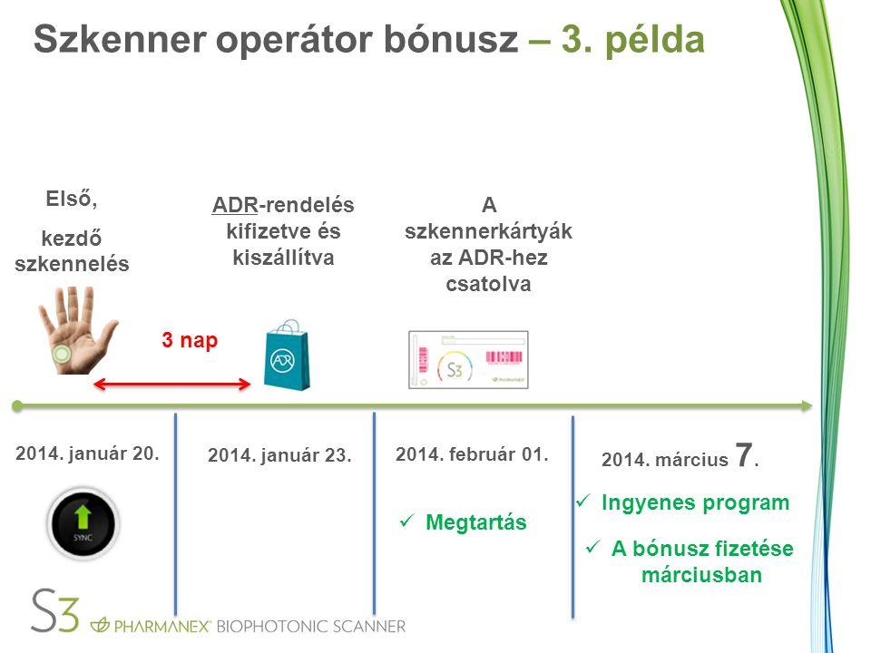 Első, kezdő szkennelés 3 nap ADR-rendelés kifizetve és kiszállítva 2014.