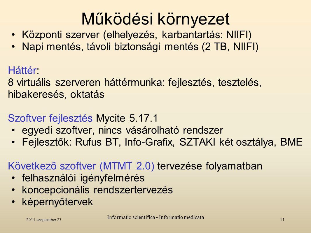 Működési környezet Központi szerver (elhelyezés, karbantartás: NIIFI) Napi mentés, távoli biztonsági mentés (2 TB, NIIFI) Háttér: 8 virtuális szerveren háttérmunka: fejlesztés, tesztelés, hibakeresés, oktatás Szoftver fejlesztés Mycite 5.17.1 egyedi szoftver, nincs vásárolható rendszer Fejlesztők: Rufus BT, Info-Grafix, SZTAKI két osztálya, BME Következő szoftver (MTMT 2.0) tervezése folyamatban felhasználói igényfelmérés koncepcionális rendszertervezés képernyőtervek 2011 szeptember 2311 Informatio scientifica - Informatio medicata