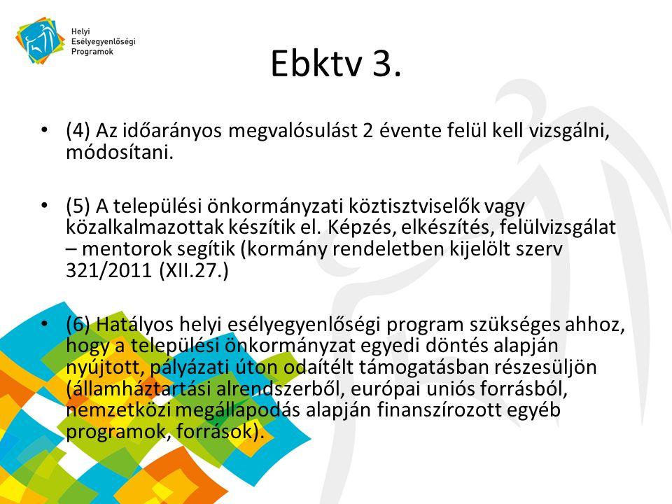 Ebktv 3. (4) Az időarányos megvalósulást 2 évente felül kell vizsgálni, módosítani.