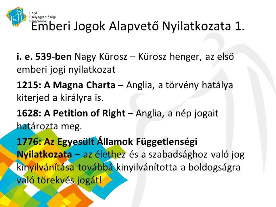 Emberi Jogok Alapvető Nyilatkozata 1. i. e.