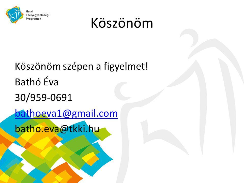 Köszönöm Köszönöm szépen a figyelmet! Bathó Éva 30/959-0691 bathoeva1@gmail.com batho.eva@tkki.hu