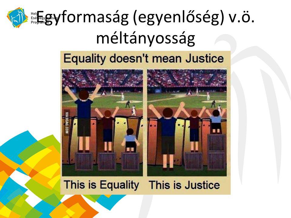 Egyformaság (egyenlőség) v.ö. méltányosság
