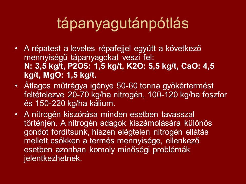 tápanyagutánpótlás A répatest a leveles répafejjel együtt a következő mennyiségű tápanyagokat veszi fel: N: 3,5 kg/t, P2O5: 1,5 kg/t, K2O: 5,5 kg/t, CaO: 4,5 kg/t, MgO: 1,5 kg/t.