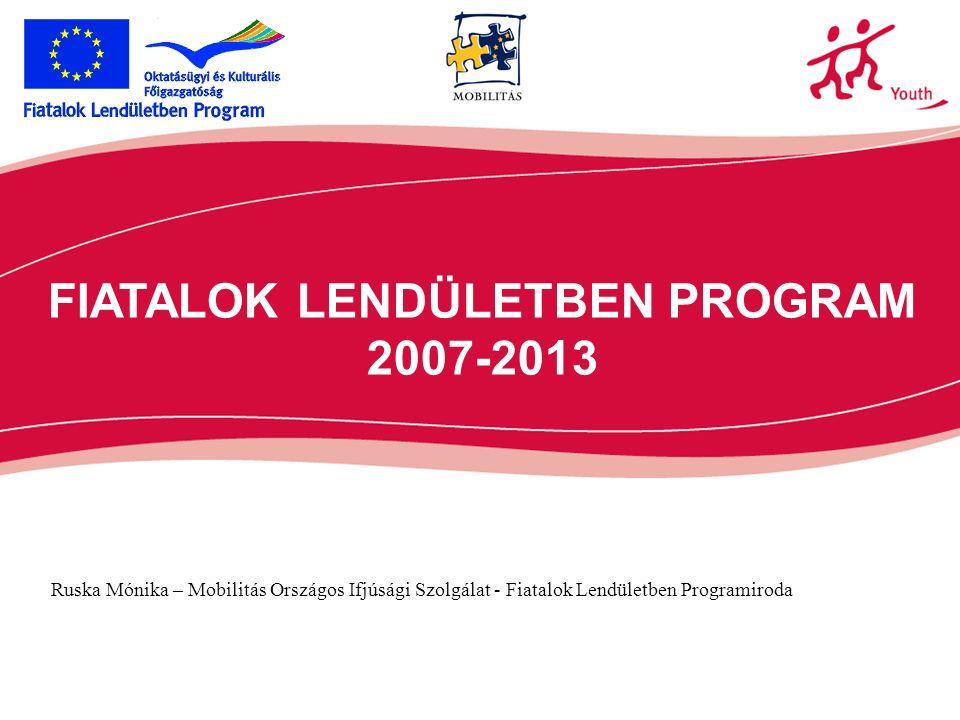 FIATALOK LENDÜLETBEN PROGRAM 2007-2013 Ruska Mónika – Mobilitás Országos Ifjúsági Szolgálat - Fiatalok Lendületben Programiroda