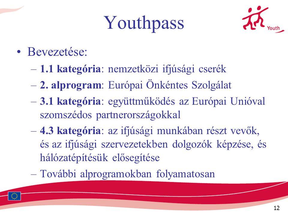 12 Youthpass Bevezetése: –1.1 kategória: nemzetközi ifjúsági cserék –2.