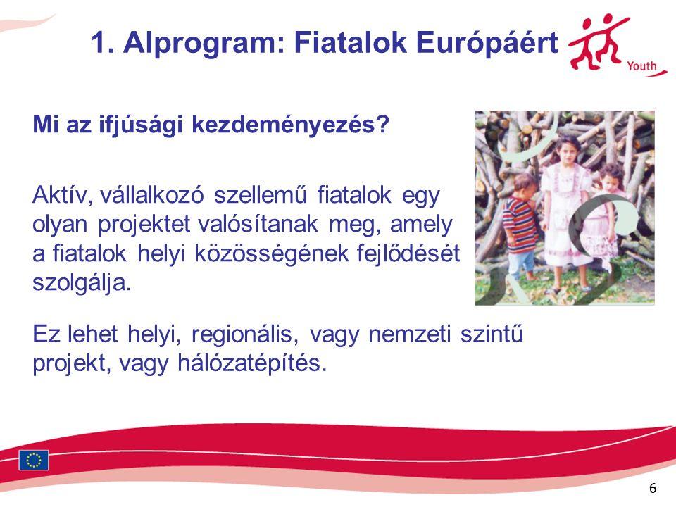 6 1. Alprogram: Fiatalok Európáért Mi az ifjúsági kezdeményezés.