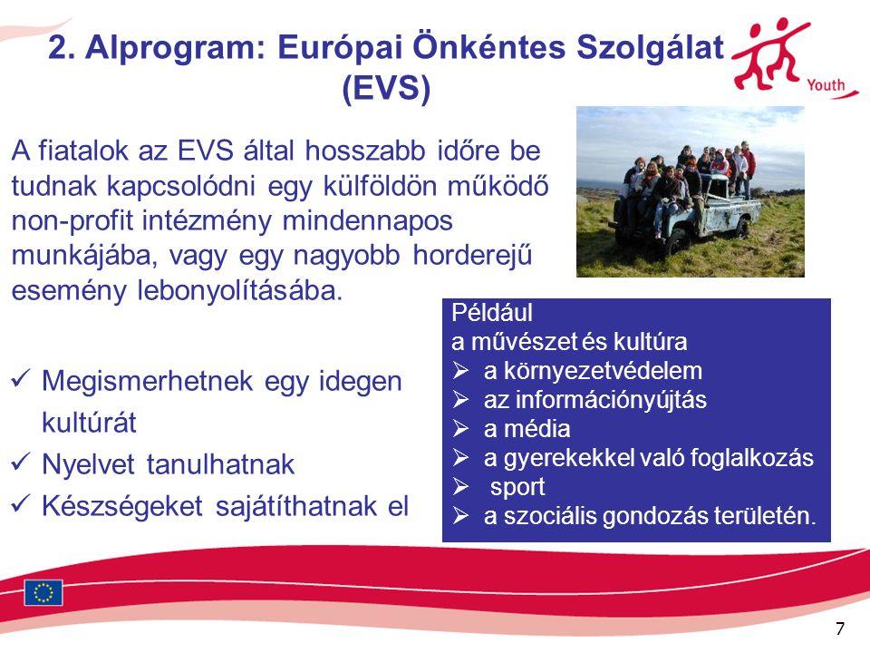 7 2. Alprogram: Európai Önkéntes Szolgálat (EVS) A fiatalok az EVS által hosszabb időre be tudnak kapcsolódni egy külföldön működő non-profit intézmén