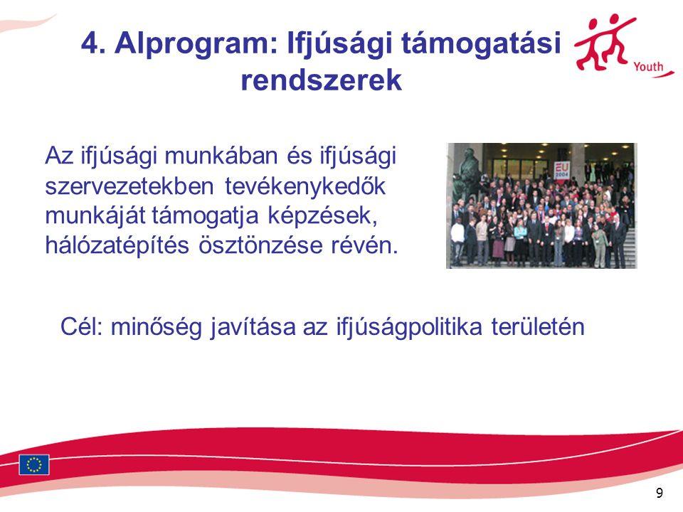 9 4. Alprogram: Ifjúsági támogatási rendszerek Az ifjúsági munkában és ifjúsági szervezetekben tevékenykedők munkáját támogatja képzések, hálózatépíté