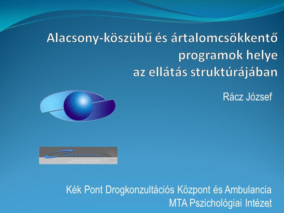 Rácz József Kék Pont Drogkonzultációs Központ és Ambulancia MTA Pszichológiai Intézet 1
