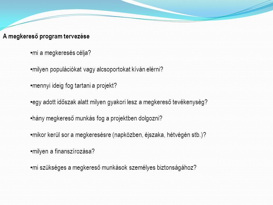 A megkereső program tervezése mi a megkeresés célja.
