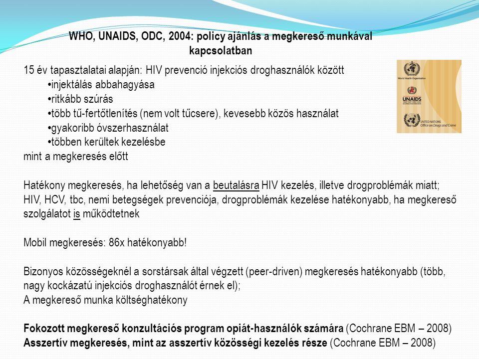 WHO, UNAIDS, ODC, 2004: policy ajánlás a megkereső munkával kapcsolatban 15 év tapasztalatai alapján: HIV prevenció injekciós droghasználók között injektálás abbahagyása ritkább szúrás több tű-fertőtlenítés (nem volt tűcsere), kevesebb közös használat gyakoribb óvszerhasználat többen kerültek kezelésbe mint a megkeresés előtt Hatékony megkeresés, ha lehetőség van a beutalásra HIV kezelés, illetve drogproblémák miatt; HIV, HCV, tbc, nemi betegségek prevenciója, drogproblémák kezelése hatékonyabb, ha megkereső szolgálatot is működtetnek Mobil megkeresés: 86x hatékonyabb.