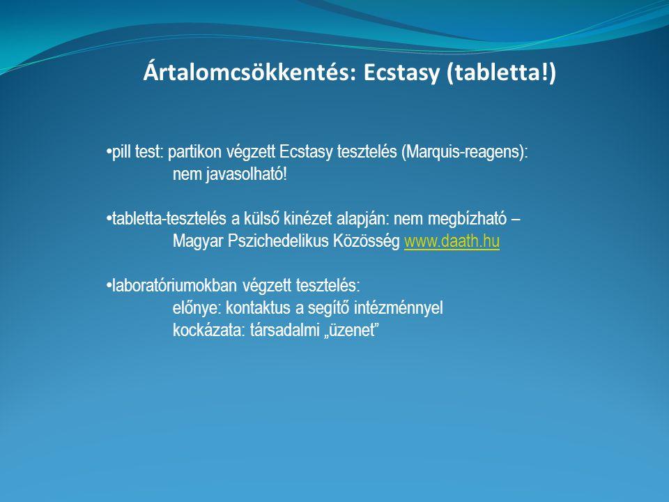 Ártalomcsökkentés: Ecstasy (tabletta!) pill test: partikon végzett Ecstasy tesztelés (Marquis-reagens): nem javasolható.