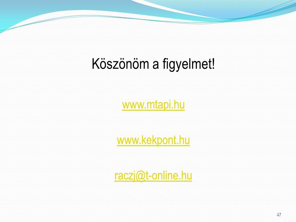 Köszönöm a figyelmet! www.mtapi.hu www.kekpont.hu raczj@t-online.hu 47