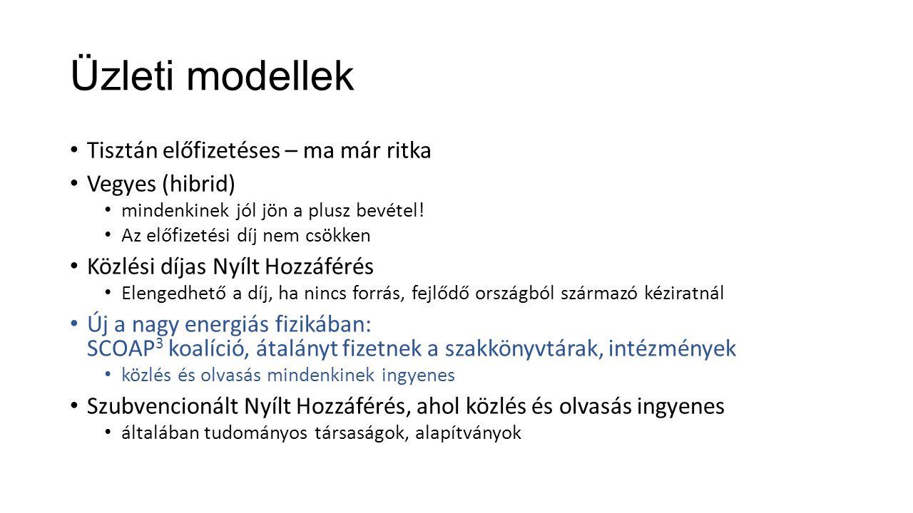 Üzleti modellek Tisztán előfizetéses – ma már ritka Vegyes (hibrid) mindenkinek jól jön a plusz bevétel.