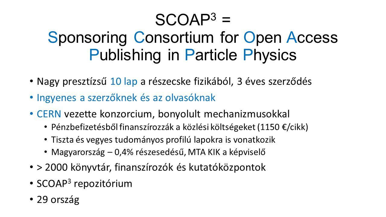 SCOAP 3 = Sponsoring Consortium for Open Access Publishing in Particle Physics Nagy presztízsű 10 lap a részecske fizikából, 3 éves szerződés Ingyenes a szerzőknek és az olvasóknak CERN vezette konzorcium, bonyolult mechanizmusokkal Pénzbefizetésből finanszírozzák a közlési költségeket (1150 €/cikk) Tiszta és vegyes tudományos profilú lapokra is vonatkozik Magyarország – 0,4% részesedésű, MTA KIK a képviselő > 2000 könyvtár, finanszírozók és kutatóközpontok SCOAP 3 repozitórium 29 ország