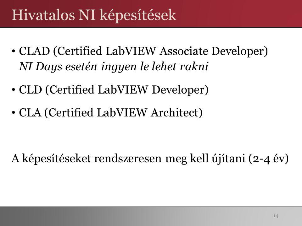 Hivatalos NI képesítések CLAD (Certified LabVIEW Associate Developer) NI Days esetén ingyen le lehet rakni CLD (Certified LabVIEW Developer) CLA (Certified LabVIEW Architect) A képesítéseket rendszeresen meg kell újítani (2-4 év) 14