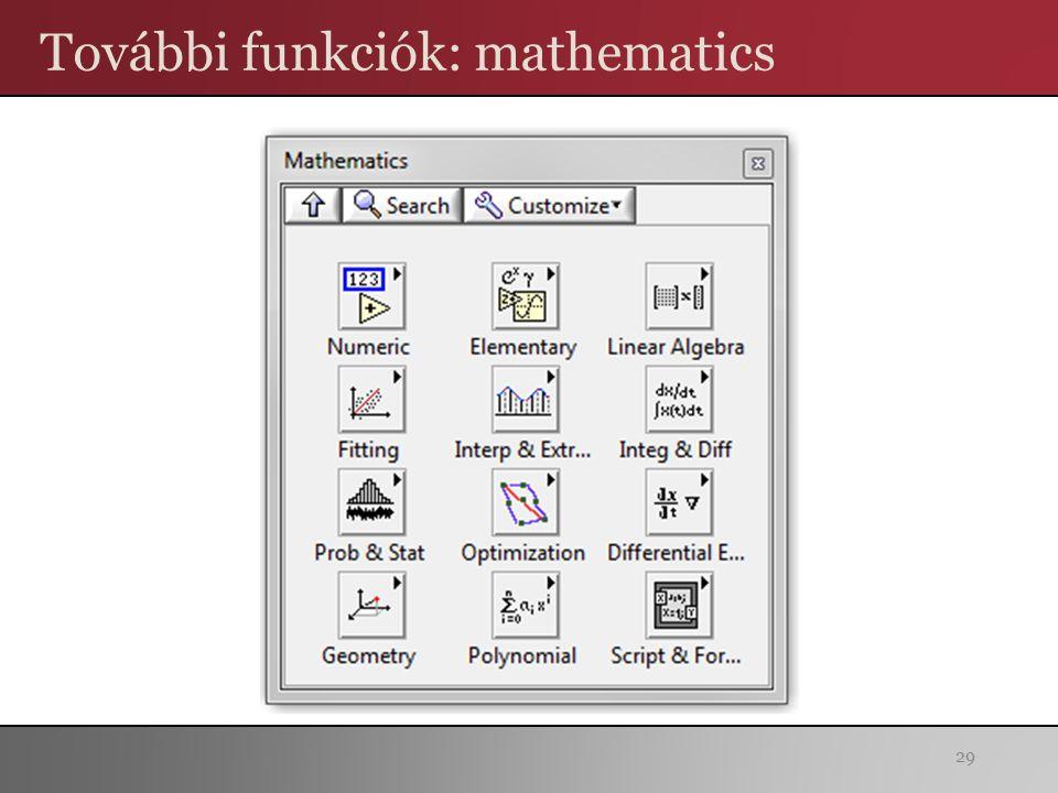 További funkciók: mathematics 29