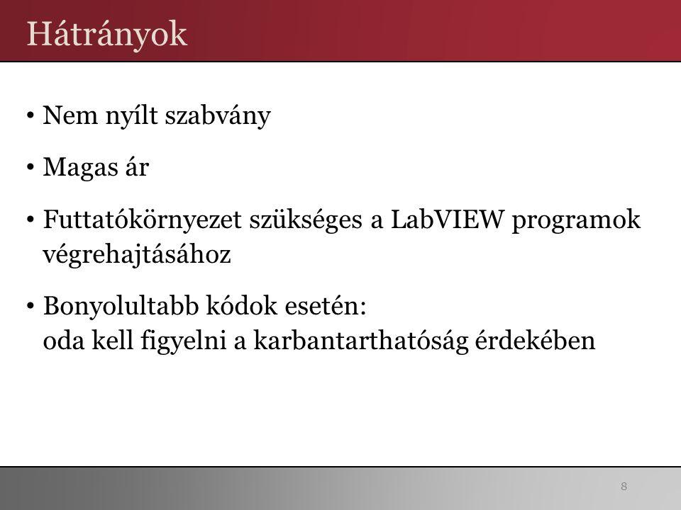 Hátrányok Nem nyílt szabvány Magas ár Futtatókörnyezet szükséges a LabVIEW programok végrehajtásához Bonyolultabb kódok esetén: oda kell figyelni a karbantarthatóság érdekében 8