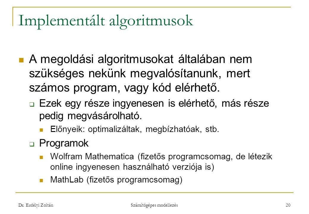 Implementált algoritmusok A megoldási algoritmusokat általában nem szükséges nekünk megvalósítanunk, mert számos program, vagy kód elérhető.