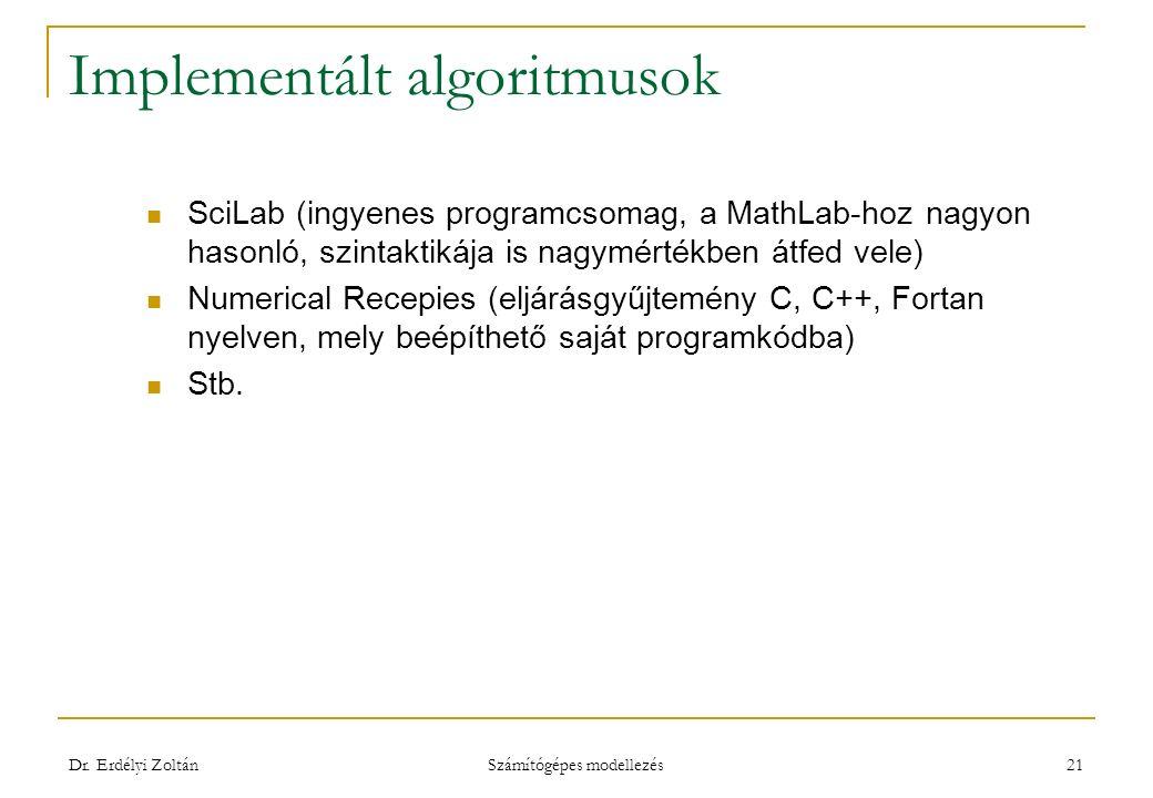 Implementált algoritmusok SciLab (ingyenes programcsomag, a MathLab-hoz nagyon hasonló, szintaktikája is nagymértékben átfed vele) Numerical Recepies (eljárásgyűjtemény C, C++, Fortan nyelven, mely beépíthető saját programkódba) Stb.