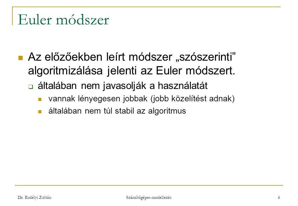"""Euler módszer Az előzőekben leírt módszer """"szószerinti algoritmizálása jelenti az Euler módszert."""