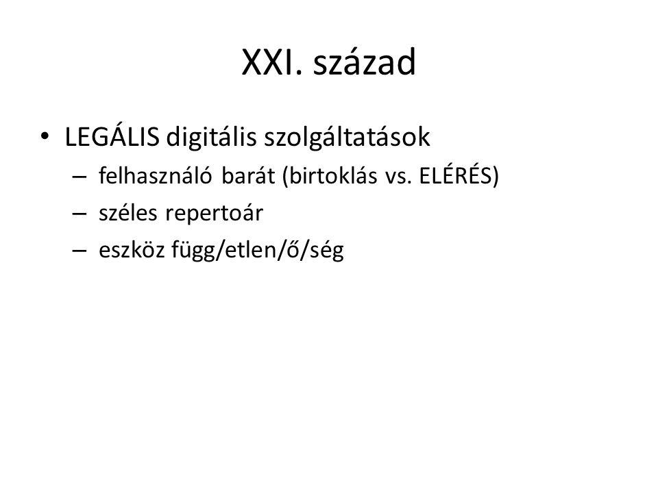 XXI. század LEGÁLIS digitális szolgáltatások – felhasználó barát (birtoklás vs.