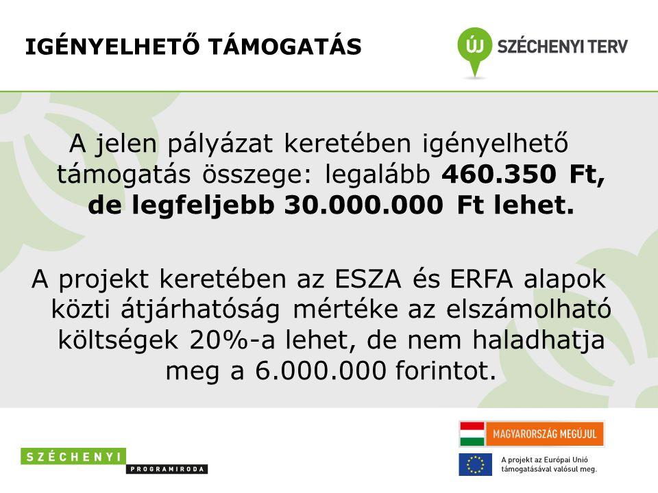 IGÉNYELHETŐ TÁMOGATÁS A jelen pályázat keretében igényelhető támogatás összege: legalább 460.350 Ft, de legfeljebb 30.000.000 Ft lehet.