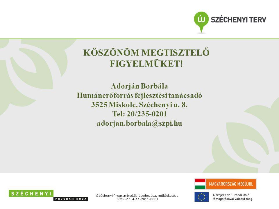 Széchenyi Programirodák létrehozása, működtetése VOP-2.1.4-11-2011-0001 KÖSZÖNÖM MEGTISZTELŐ FIGYELMÜKET! Adorján Borbála Humánerőforrás fejlesztési t
