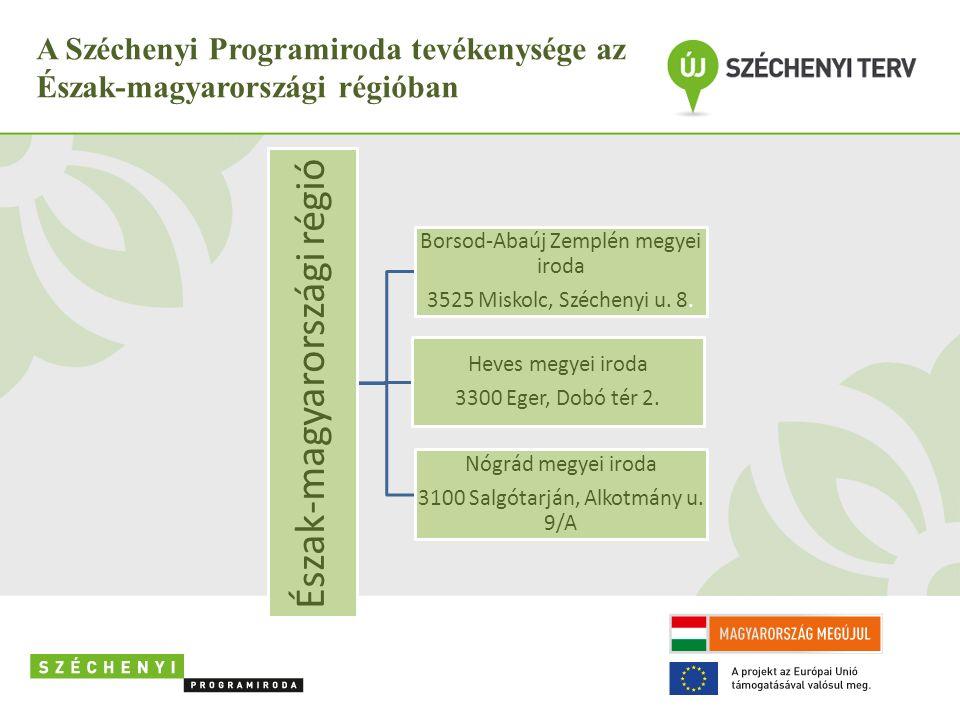 A Széchenyi Programiroda tevékenysége az Észak-magyarországi régióban Észak-magyarországi régió Borsod-Abaúj Zemplén megyei iroda 3525 Miskolc, Széche