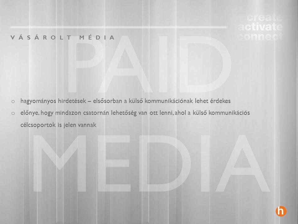PAID MEDIA VÁSÁROLT MÉDIA o hagyományos hirdetések – elsősorban a külső kommunikációnak lehet érdekes o előnye, hogy mindazon csatornán lehetőség van