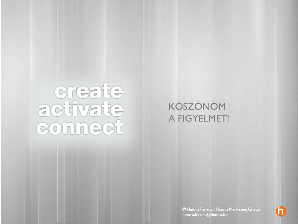 KÖSZÖNÖM A FIGYELMET! © Hinora Ferenc | Hinora Marketing Group hinora.ferenc@hinora.hu