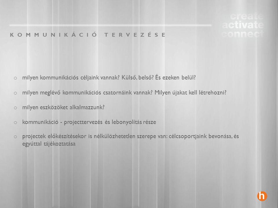 BELSŐ KOMMUNIKÁCIÓ FONTOSABB CÉLJAI o belső célcsoportok ( pl.