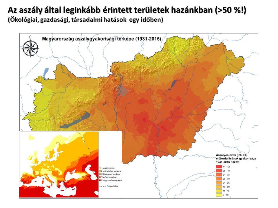 Az aszály által leginkább érintett területek hazánkban (>50 %!) (Ökológiai, gazdasági, társadalmi hatások egy időben)