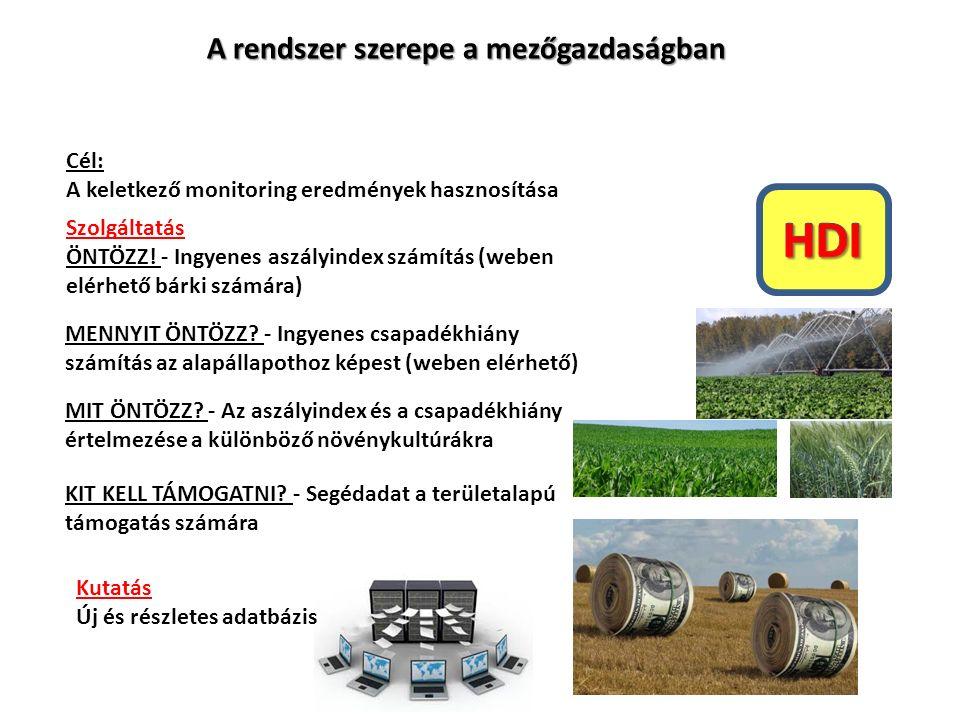A rendszer szerepe a mezőgazdaságban Cél: A keletkező monitoring eredmények hasznosítása Kutatás Új és részletes adatbázis Szolgáltatás ÖNTÖZZ.