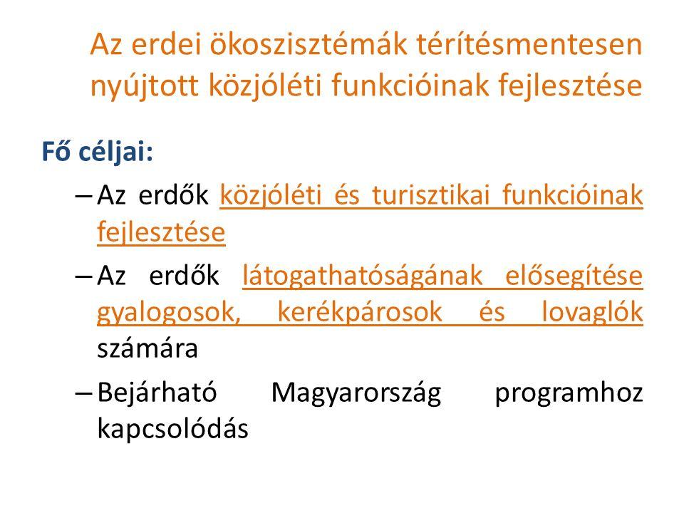 Az erdei ökoszisztémák térítésmentesen nyújtott közjóléti funkcióinak fejlesztése Fő céljai: – Az erdők közjóléti és turisztikai funkcióinak fejlesztése – Az erdők látogathatóságának elősegítése gyalogosok, kerékpárosok és lovaglók számára – Bejárható Magyarország programhoz kapcsolódás