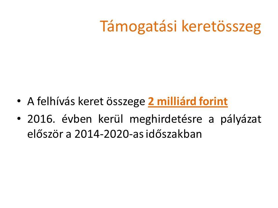 Támogatási keretösszeg A felhívás keret összege 2 milliárd forint 2016.