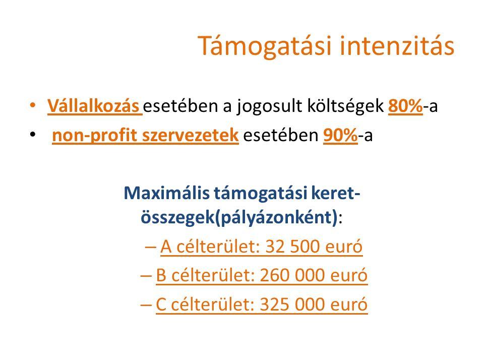 Támogatási intenzitás Vállalkozás esetében a jogosult költségek 80%-a non-profit szervezetek esetében 90%-a Maximális támogatási keret- összegek(pályázonként): – A célterület: 32 500 euró – B célterület: 260 000 euró – C célterület: 325 000 euró