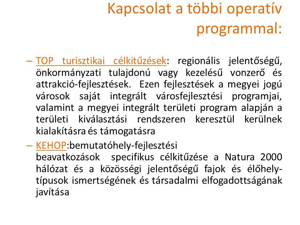 Kapcsolat a többi operatív programmal: – TOP turisztikai célkitűzések: regionális jelentőségű, önkormányzati tulajdonú vagy kezelésű vonzerő és attrakció-fejlesztések.