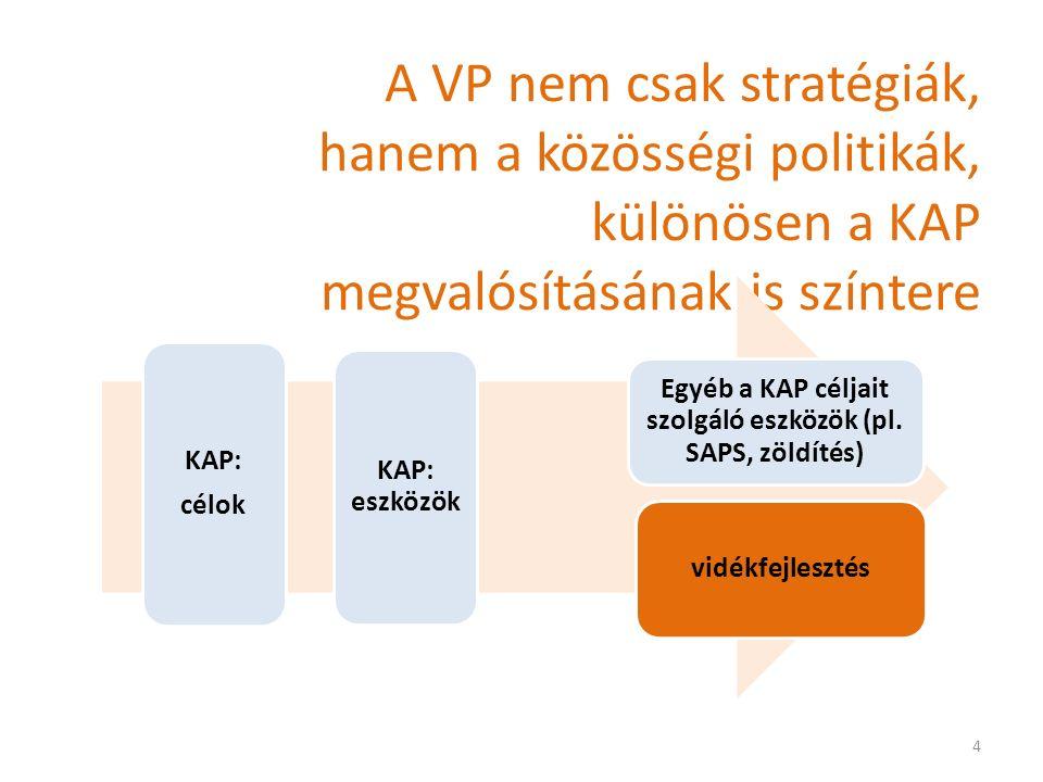 A VP nem csak stratégiák, hanem a közösségi politikák, különösen a KAP megvalósításának is színtere KAP: célok KAP: eszközök vidékfejlesztés Egyéb a KAP céljait szolgáló eszközök (pl.
