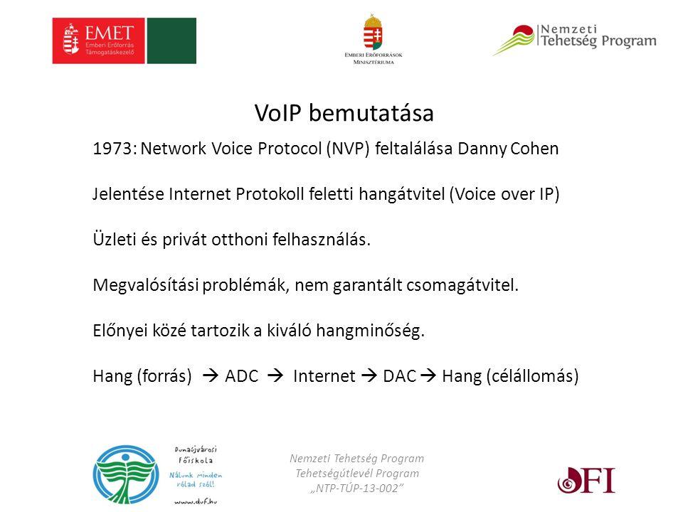 """Nemzeti Tehetség Program Tehetségútlevél Program """"NTP-TÚP-13-002 VoIP bemutatása 1973: Network Voice Protocol (NVP) feltalálása Danny Cohen Jelentése Internet Protokoll feletti hangátvitel (Voice over IP) Üzleti és privát otthoni felhasználás."""