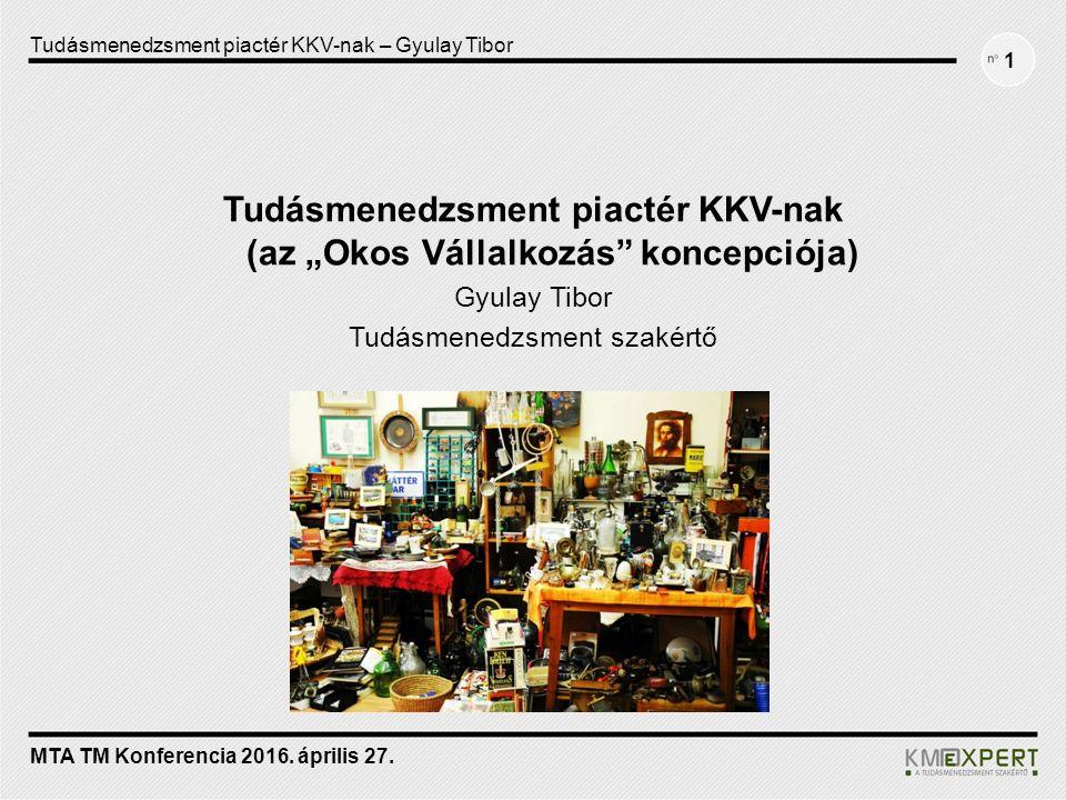 """1 Tudásmenedzsment piactér KKV-nak (az """"Okos Vállalkozás koncepciója) Gyulay Tibor Tudásmenedzsment szakértő"""